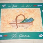 Hand-Painted Canvas Floor Mat - French Garden Theme