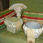 Shell Sconce and Decorative Pots