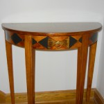 Demi Lune Table - Stained and Hand-Painted